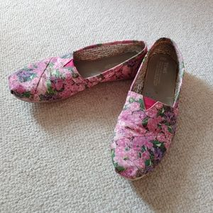 TOMS pink floral slip on shoes